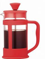 Grunwerg 3 Cup Glass Cafetiere Soft Touch - Red